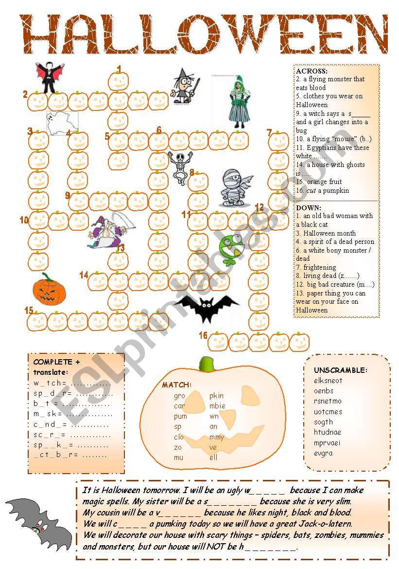 Halloween Fun + Pumpkin Crossword + 8 activities + BW + CW for older + BOOKMARKS + 6 game rules + KEY ((6_PAGES)) -  A2 level