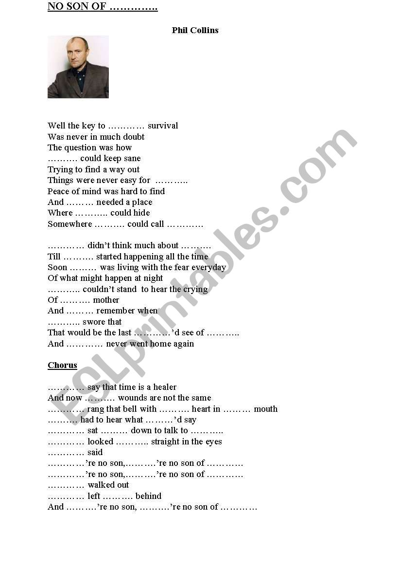 No son of mine, Phil Collins worksheet