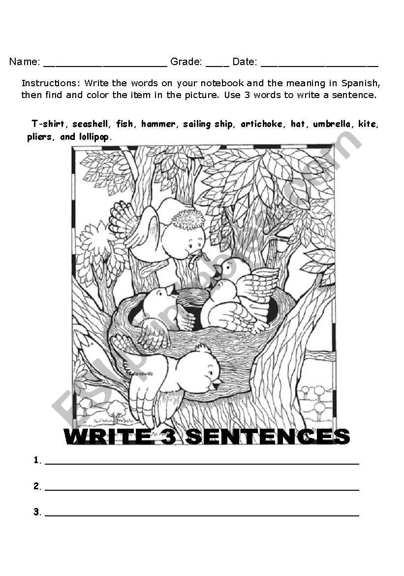 vocabulary word search worksheet