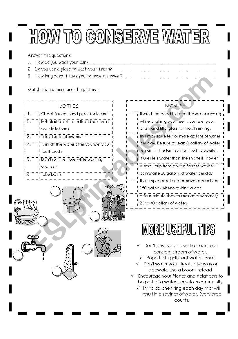 How To Conserve Water Esl Worksheet By Cris03glu