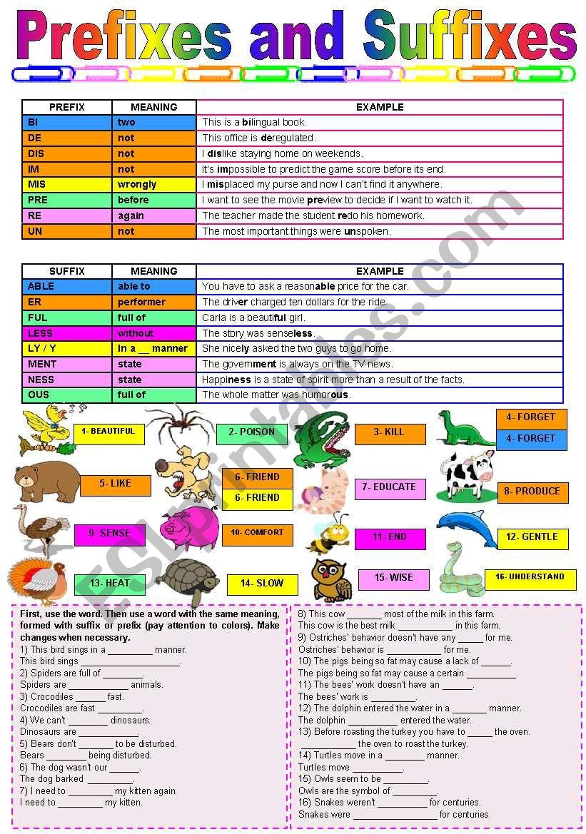 Prefixes and suffixes - grammar guide, gap-filling, game cards Regarding Prefixes And Suffixes Worksheet