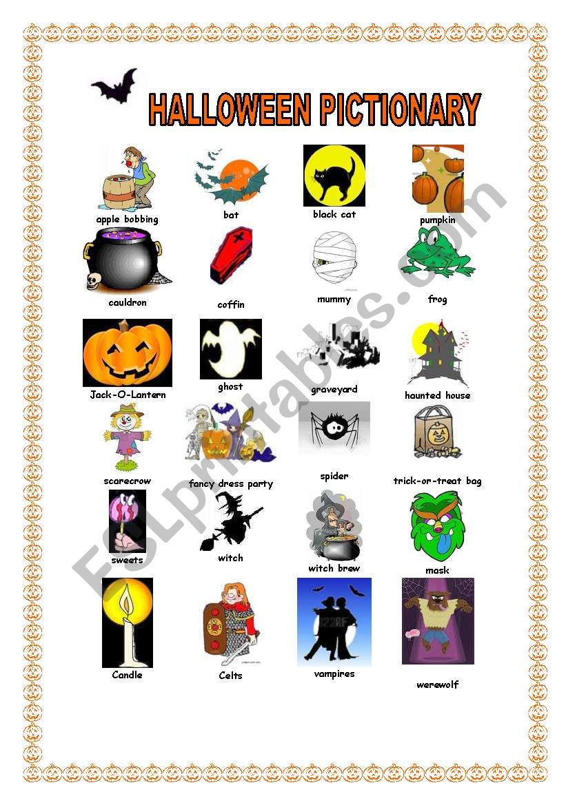 HALLOWEEN PICTIONARY worksheet