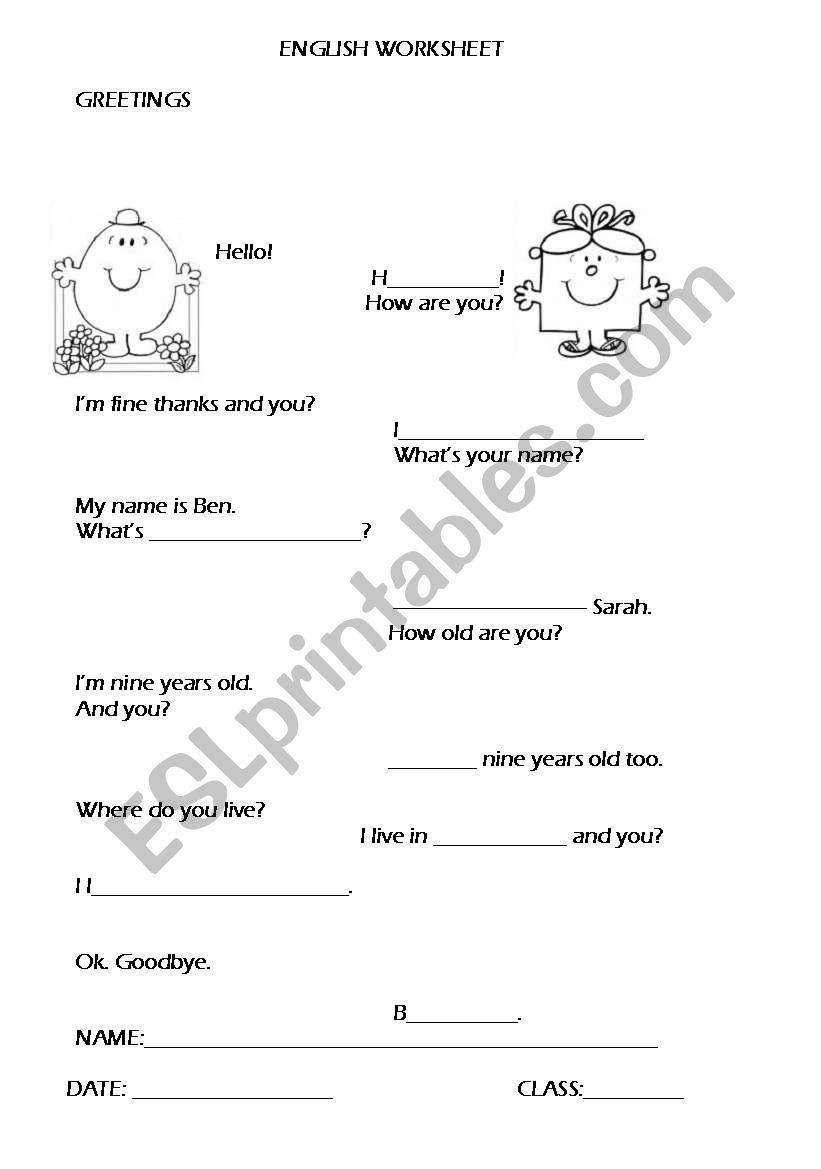 Greetings/Personal ID worksheet