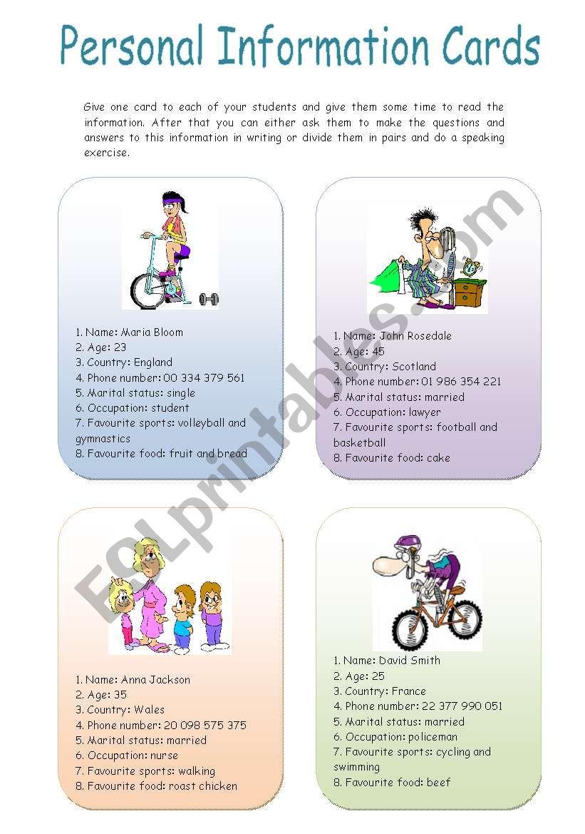 Personal information cards worksheet