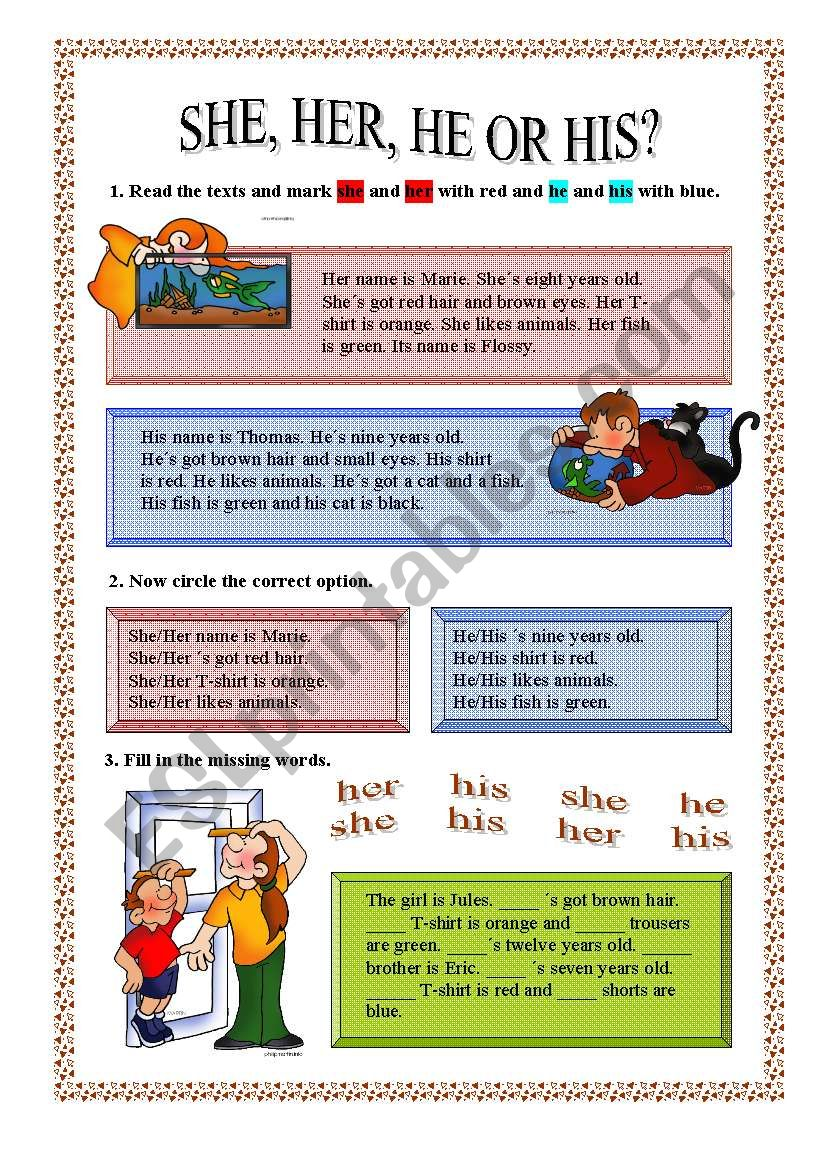 SHE,HER,HE or HIS worksheet