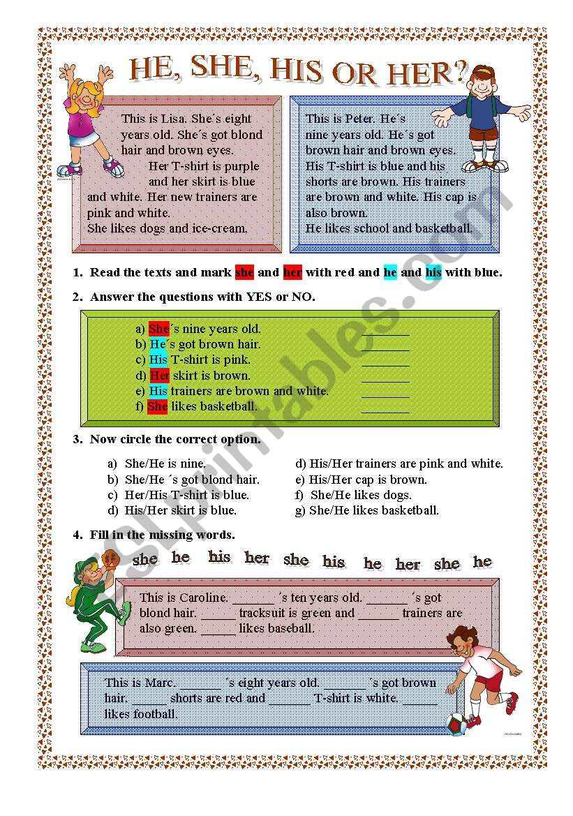 HE,SHE,HIS or HER? worksheet