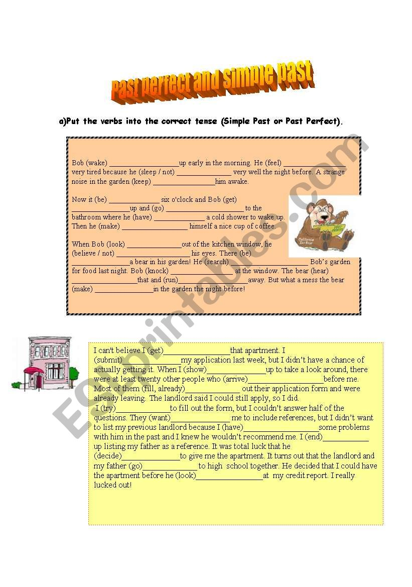 Past perfect and simple past worksheet