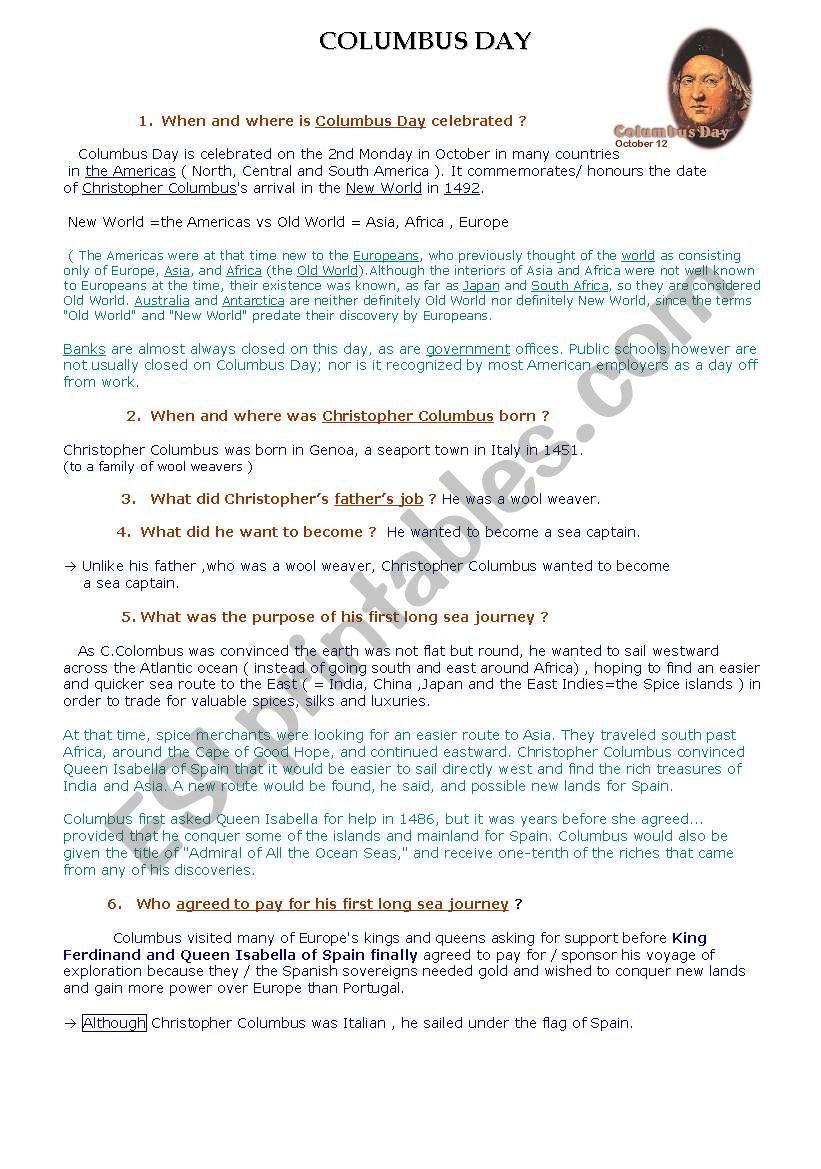 Columbus day webquest answer sheet esl worksheet by milkywayblue columbus day webquest answer sheet ibookread Download