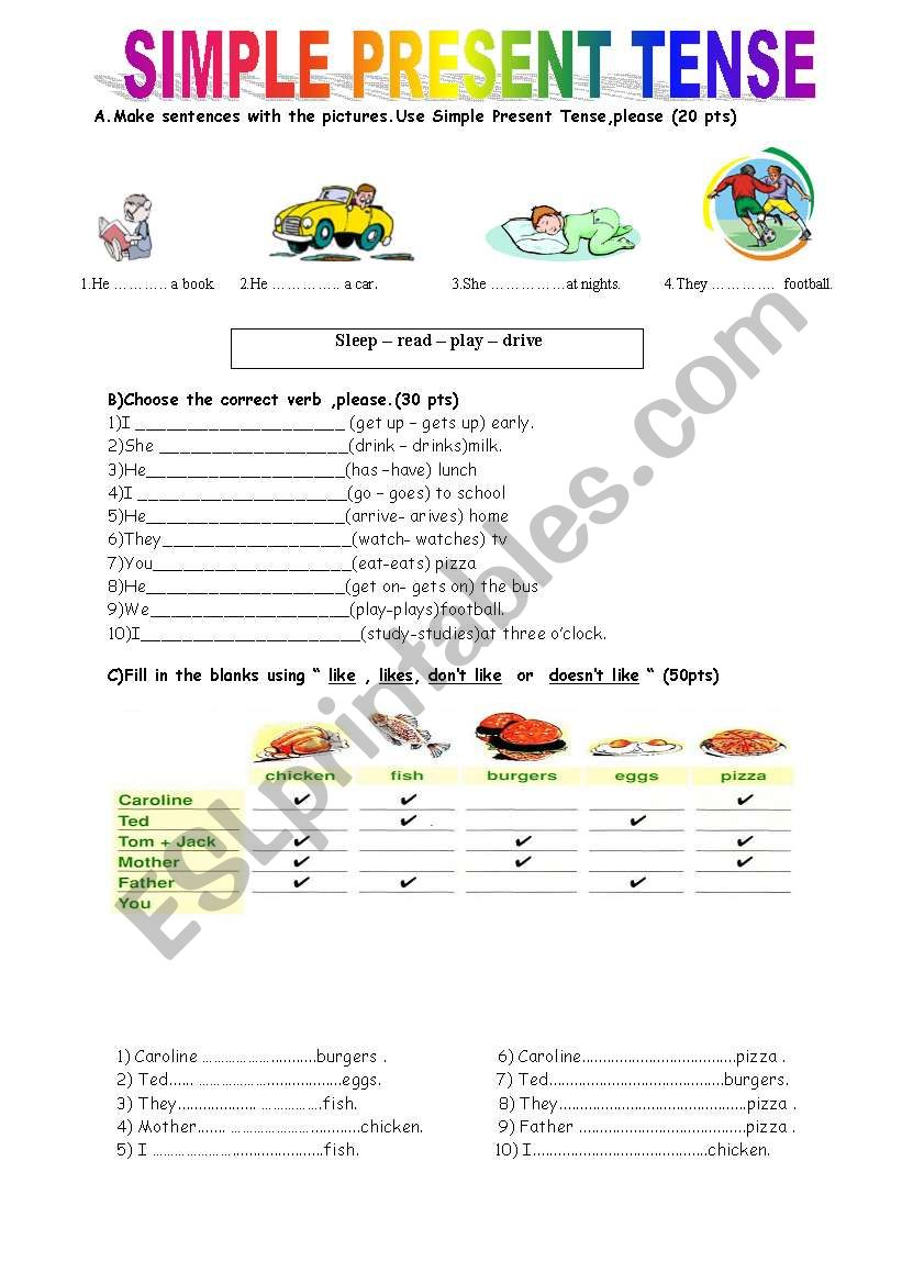 To learn english tenses exercises printable