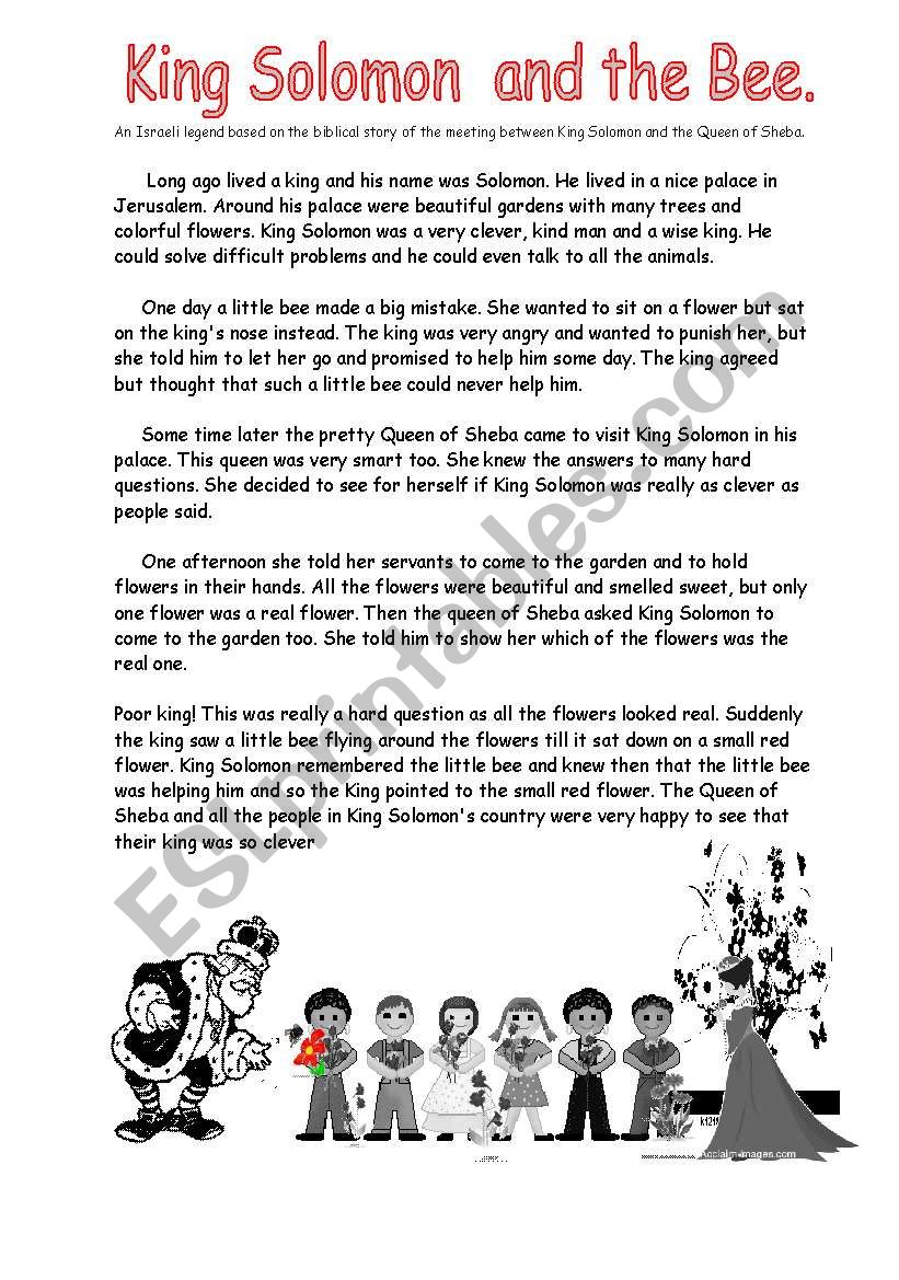 King Solomon and the Bee worksheet