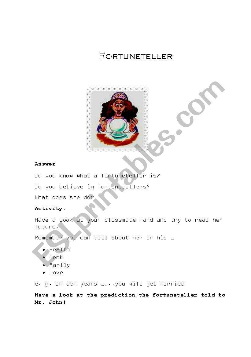 fortune teller worksheet