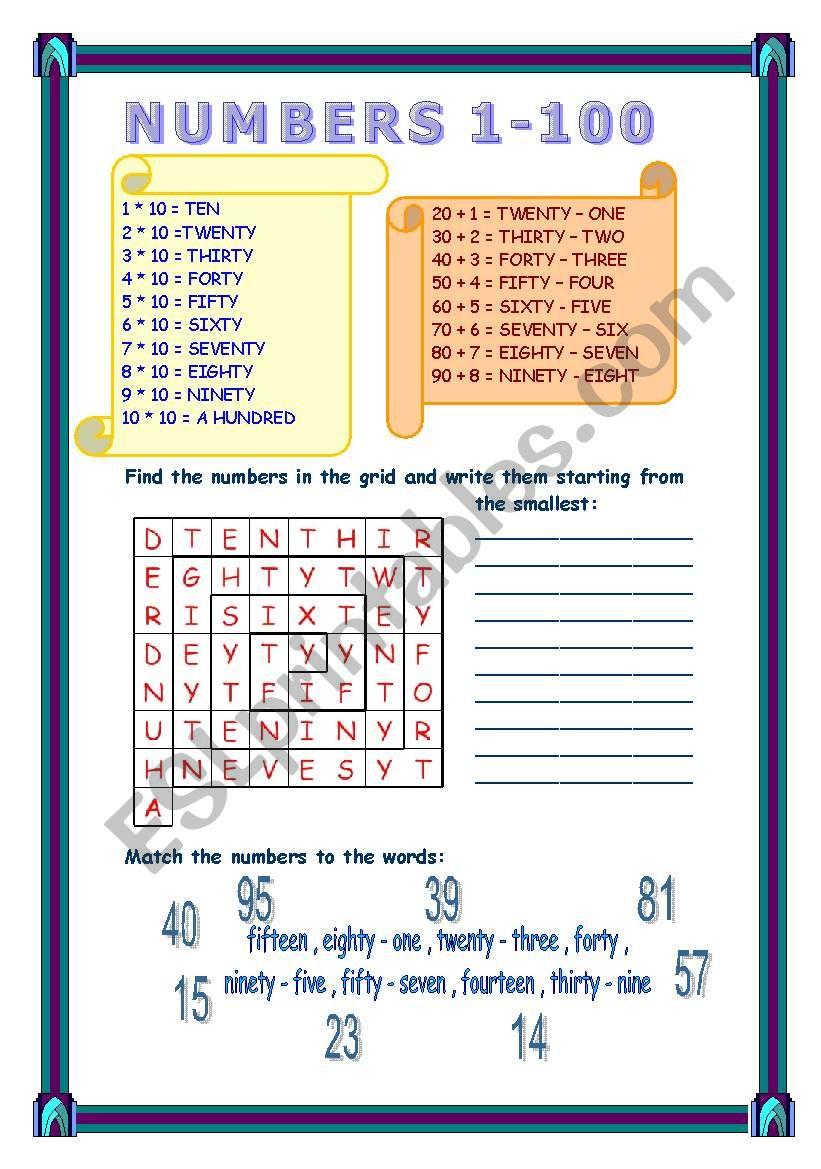 numbers 1-100 worksheet