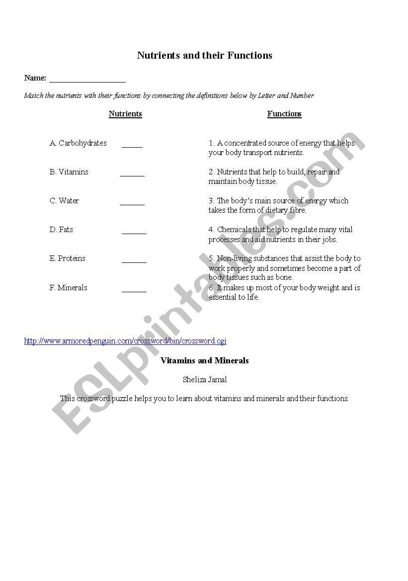English worksheets: Nutrients Matching Game
