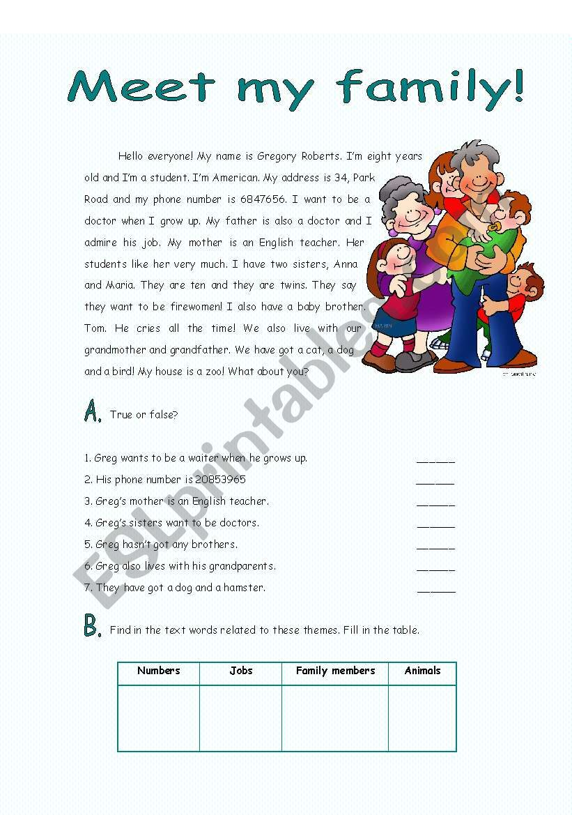 Reading meet my family esl worksheet by xanaf reading meet my family worksheet ibookread ePUb