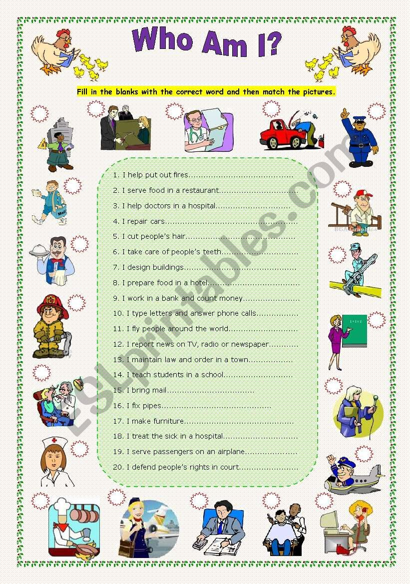 English Worksheets Who Am I