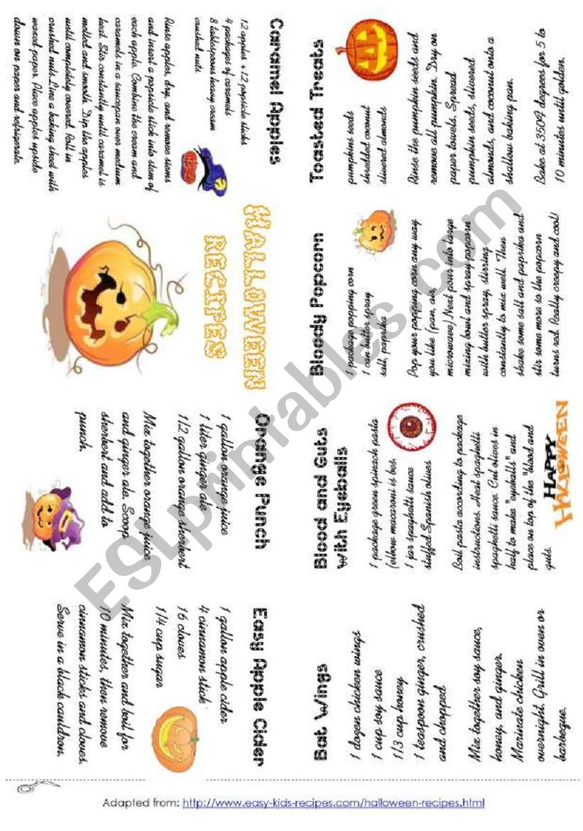 HALLOWEEN RECIPES, minibook worksheet