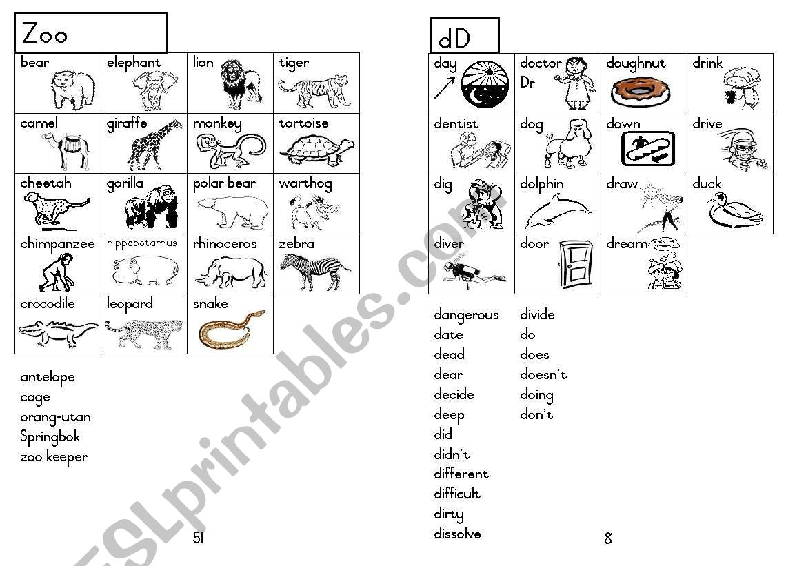 A5 Picture Dictionary 9 worksheet