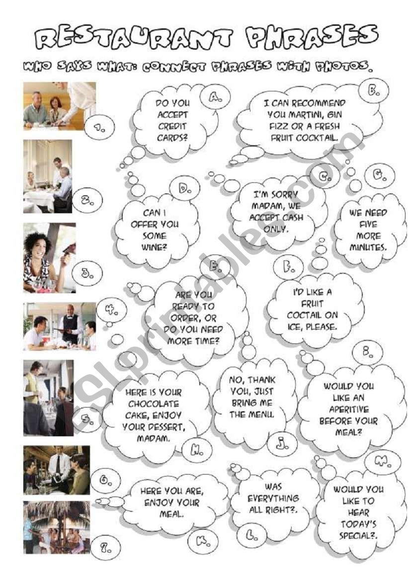 RESTAURANT PHRASES worksheet