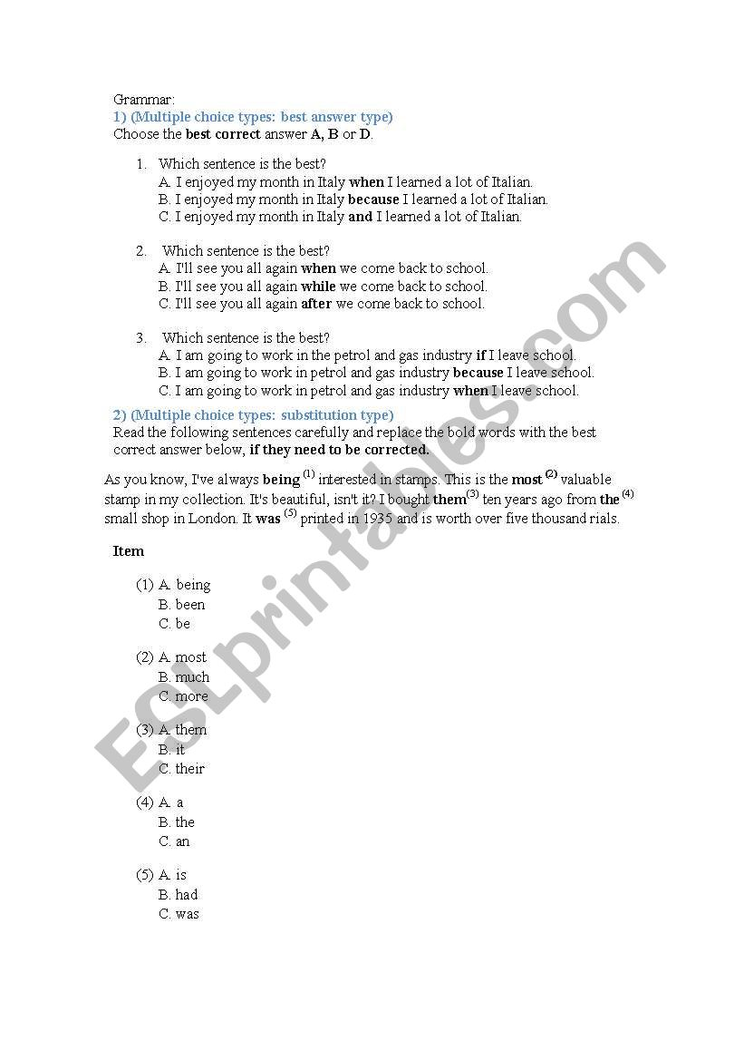 simple grammar test worksheet
