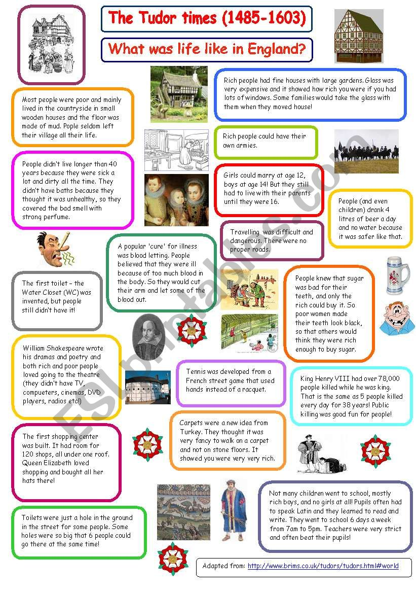 Tudor Times What Was Life Like In England The Things Books Don T Tell You Esl Worksheet By Marta V