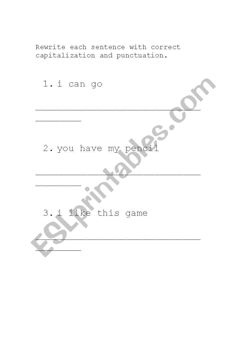 Capitalization and Punctuation (periods and question marks)