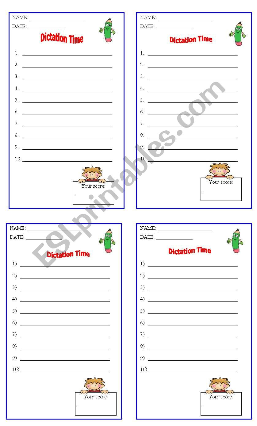 DICTATION SHEET worksheet