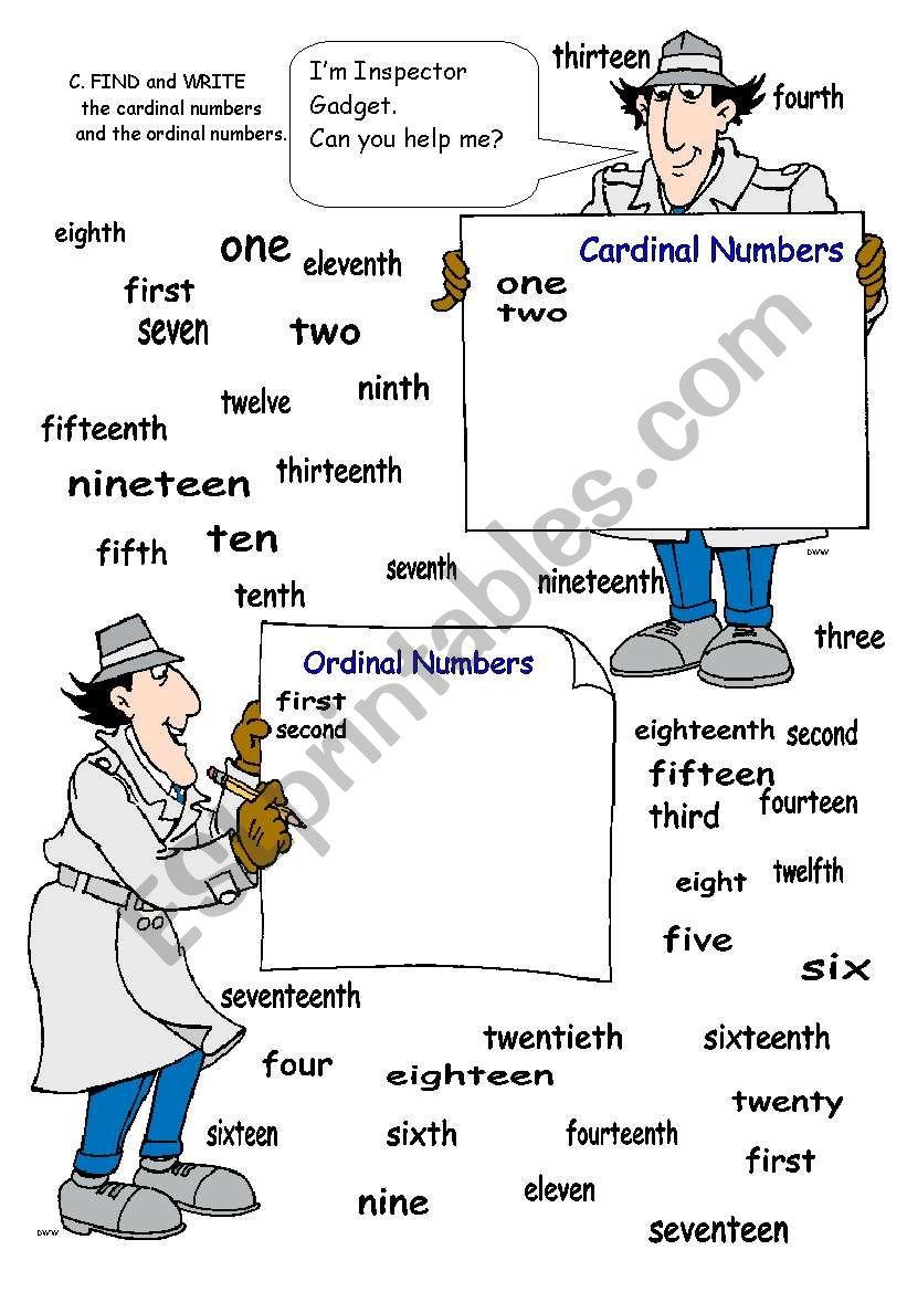 ORDINAL AND CARDINAL NUMBERS worksheet