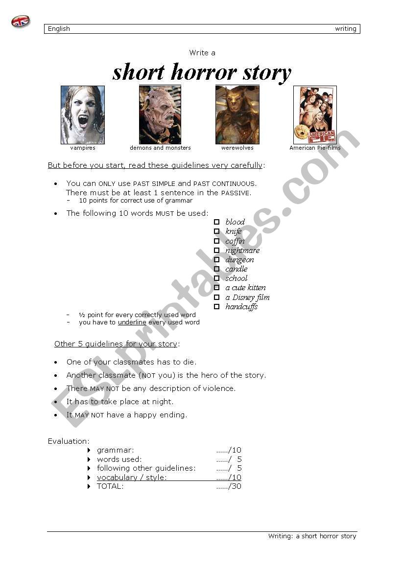 Short horror story - ESL worksheet by tommyenglish