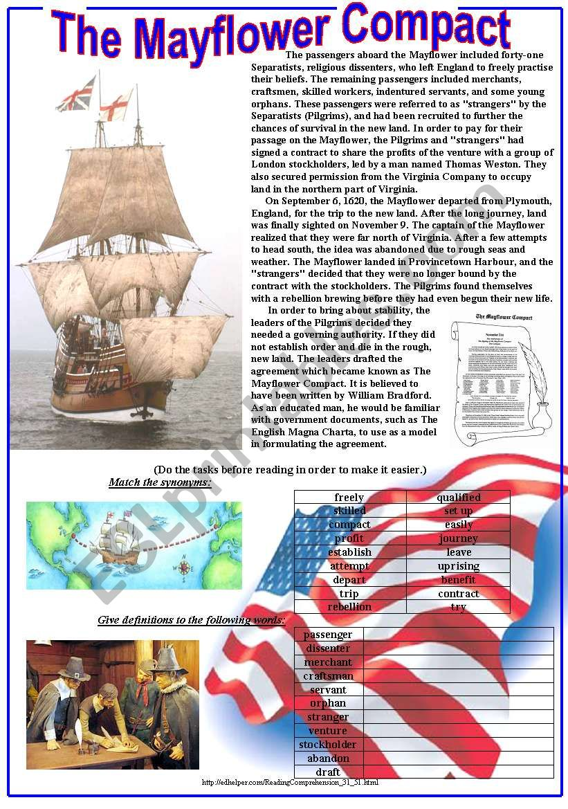 The Mayflower Compact worksheet