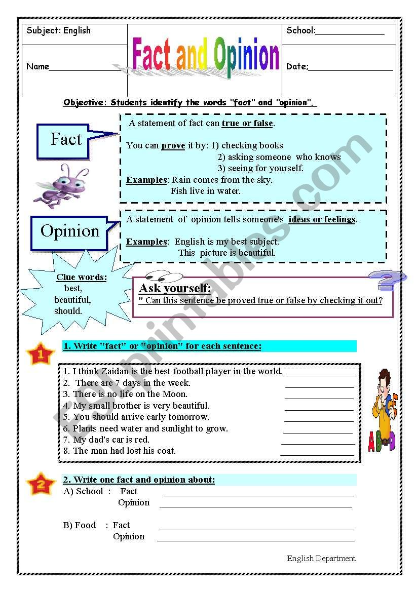 fact & opinion worksheet