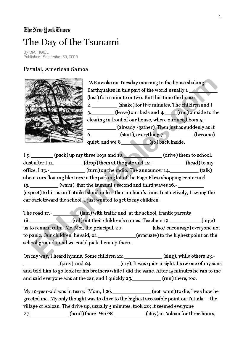 The day of the tsunami worksheet