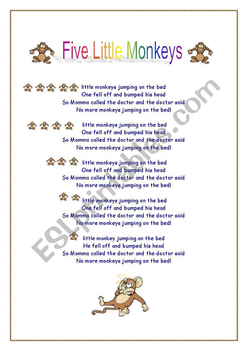 Five Little Monkeys Song Lyrics together with Match The Word To The Picture Dora further S moreover Original together with Frog Headband. on worksheet for children
