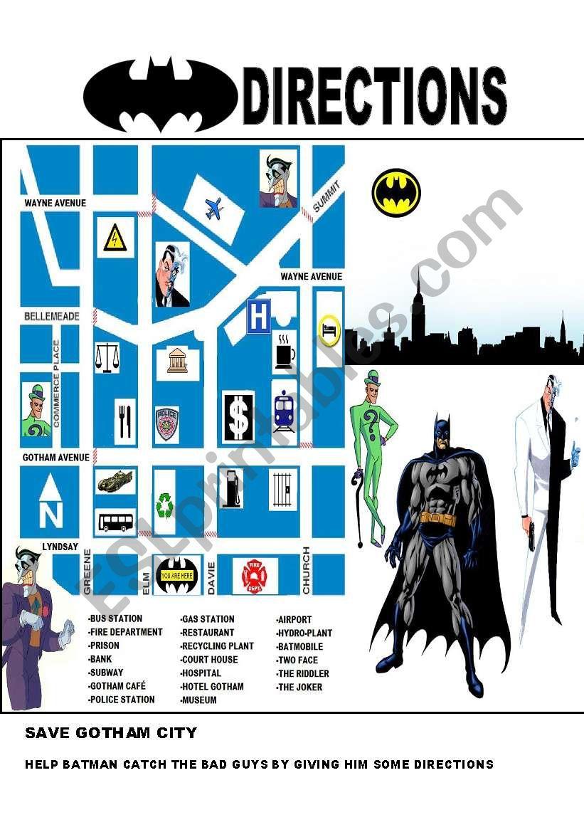 BATMAN: GIVING DIRECTIONS worksheet
