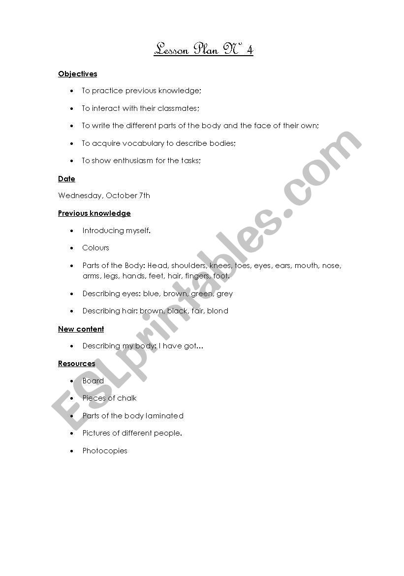Lesson Plan Nº4 -  Worksheets included (Parts of the body, I have got, colours) 4/12