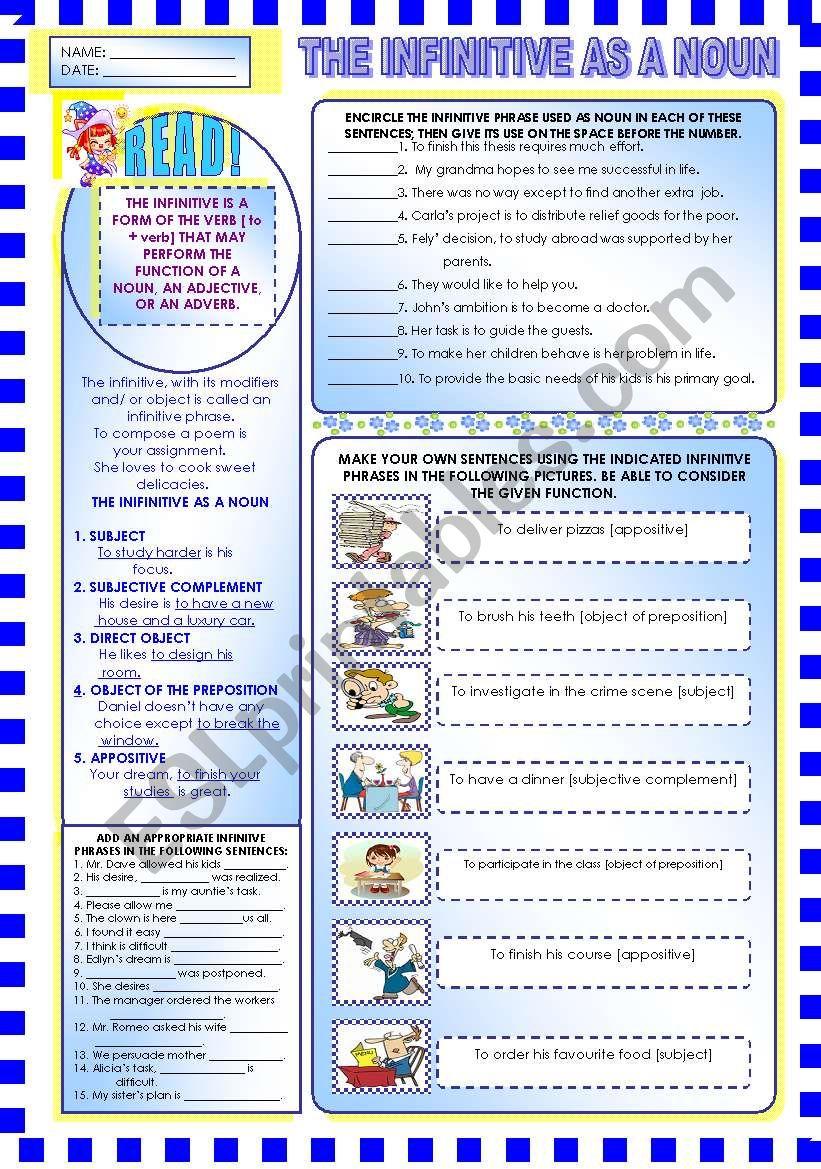 THE INFINITIVE PHRASE AS A NOUN - ESL worksheet by mavic15