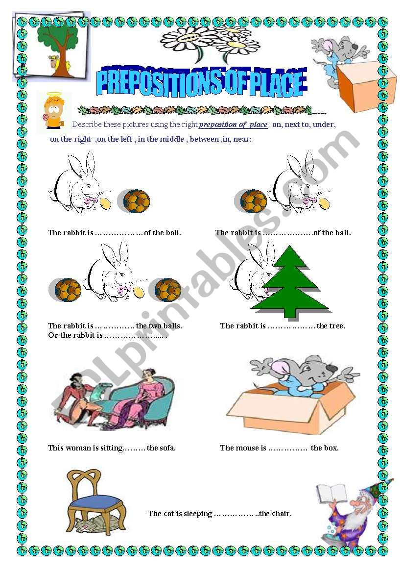 describing pictures using the prepositions of place esl worksheet by maram11. Black Bedroom Furniture Sets. Home Design Ideas