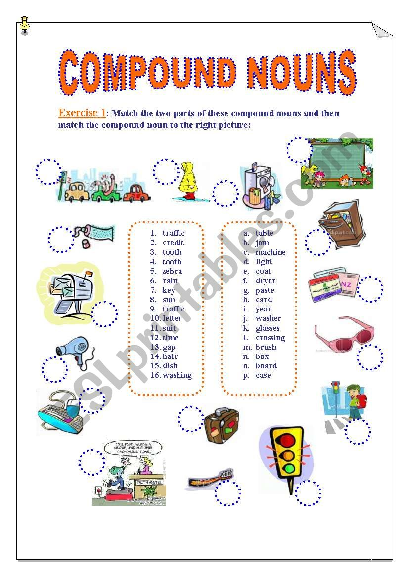 Compound Nouns. 2 Pages Exercises (Matching and Fill in the gaps) + KEY