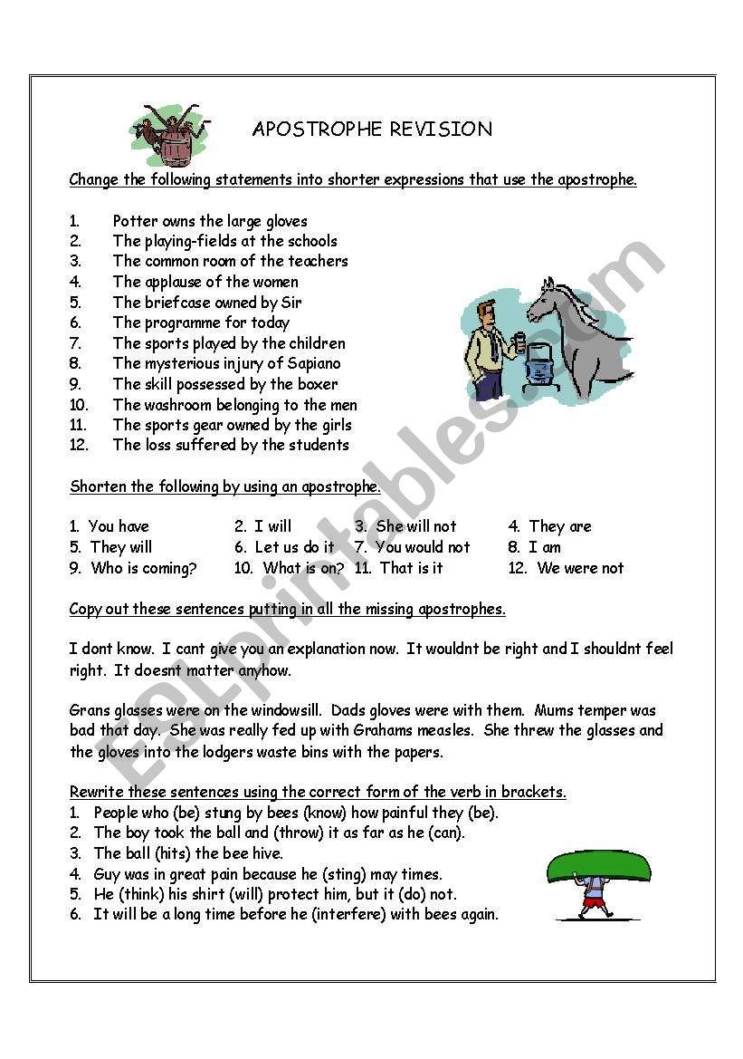 Apostrophe revision worksheet