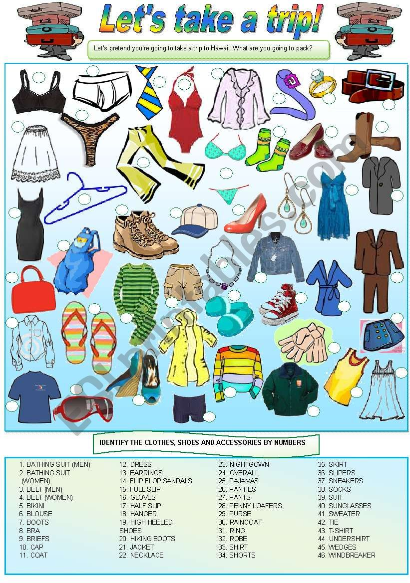 Let´s take a trip! - (clothes, shoes & accessories) - Vocabulary, writing & conversation - 2 pages - fully editable