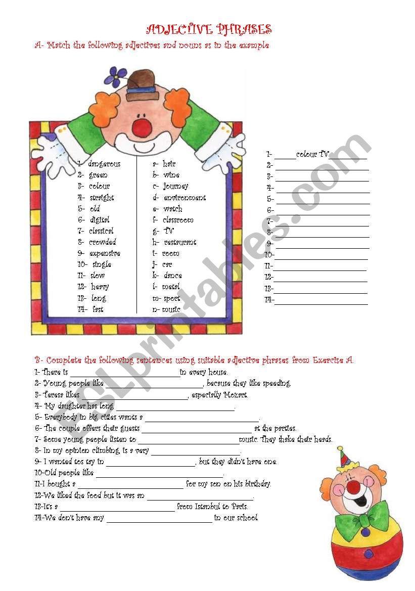 worksheet adjective phrases kidz activities. Black Bedroom Furniture Sets. Home Design Ideas