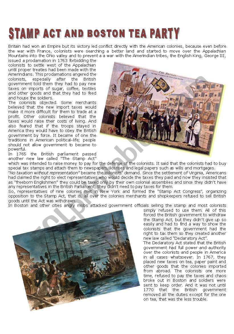 Stamp Act A Nd Boston Tea Party