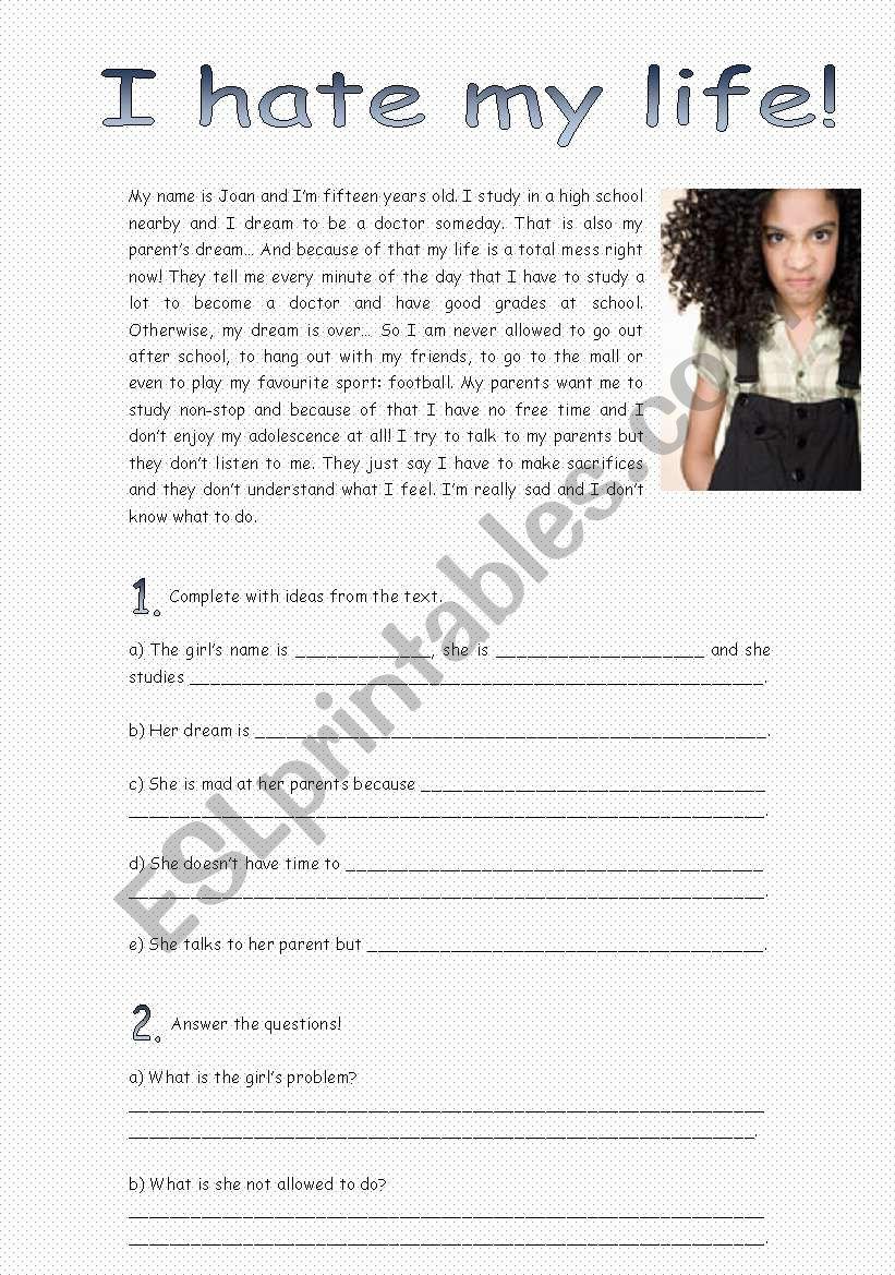 Reading - I hate my life! worksheet