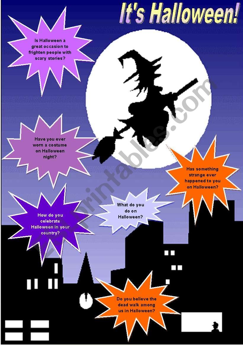 It´s Halloween! - Conversation, vocabulary & reading comprehension - 3 pages - fully editable