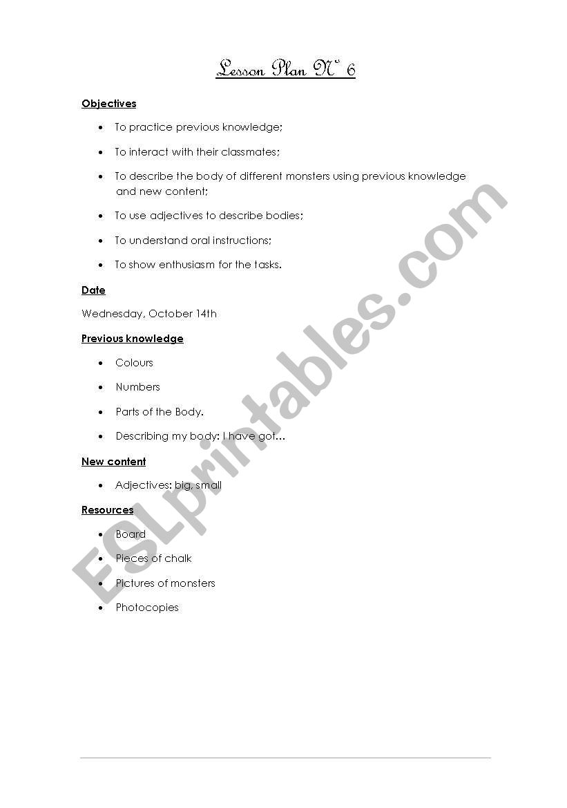 Lesson Plan Nº6 - ALL Worksheets included (Parts of the body, I have got, colours, numbers, adjectives) 6/12