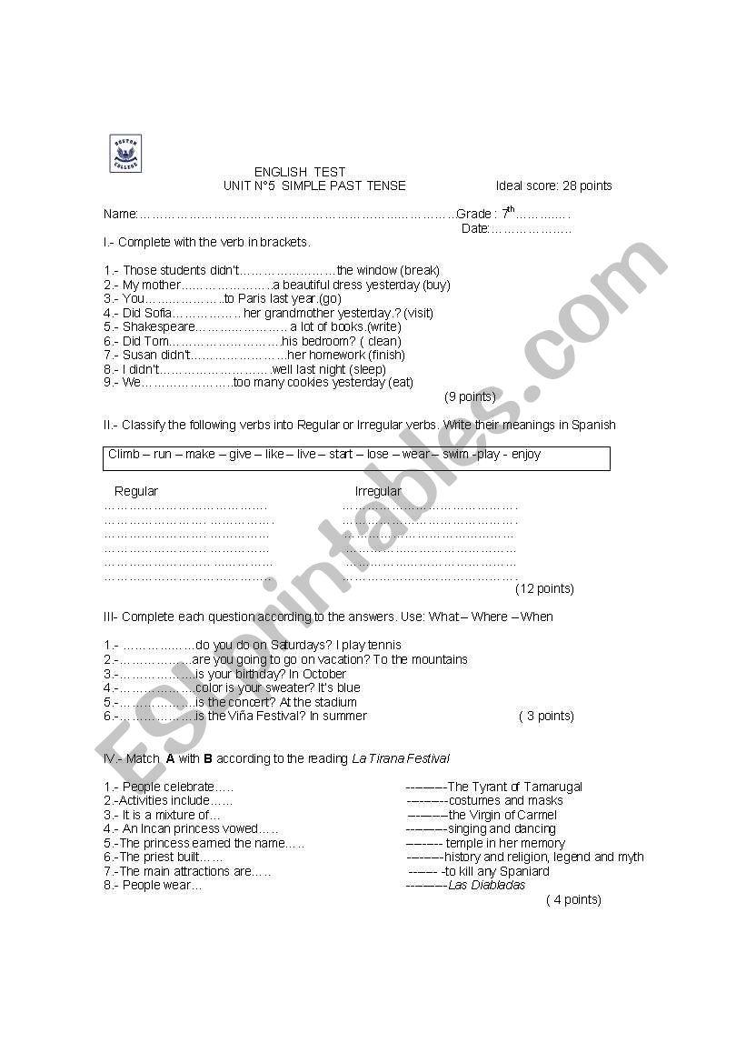 Simple Past worksheet worksheet