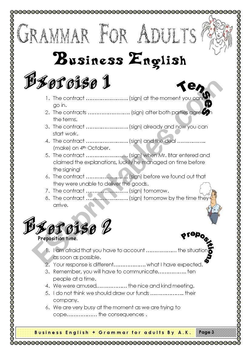 Grammar For Adults Business English Esl Worksheet By Allakoalla