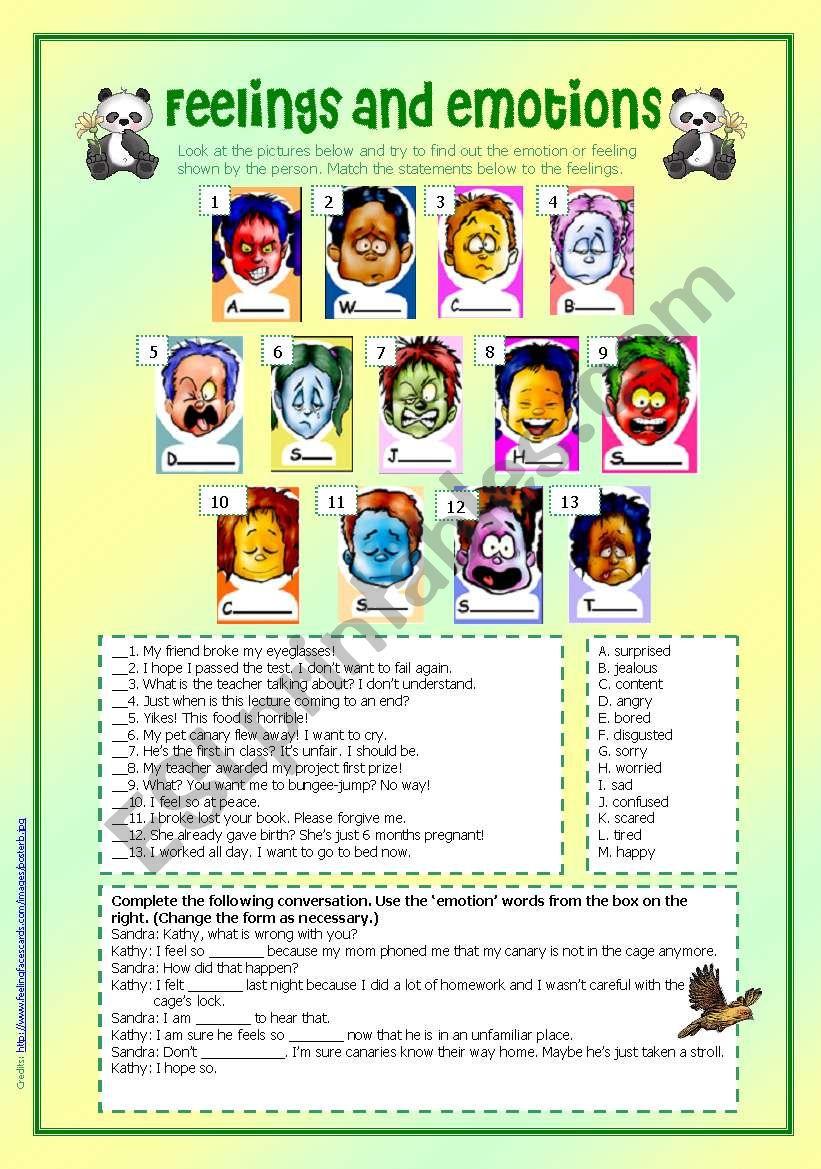 Feelings and emotions worksheet