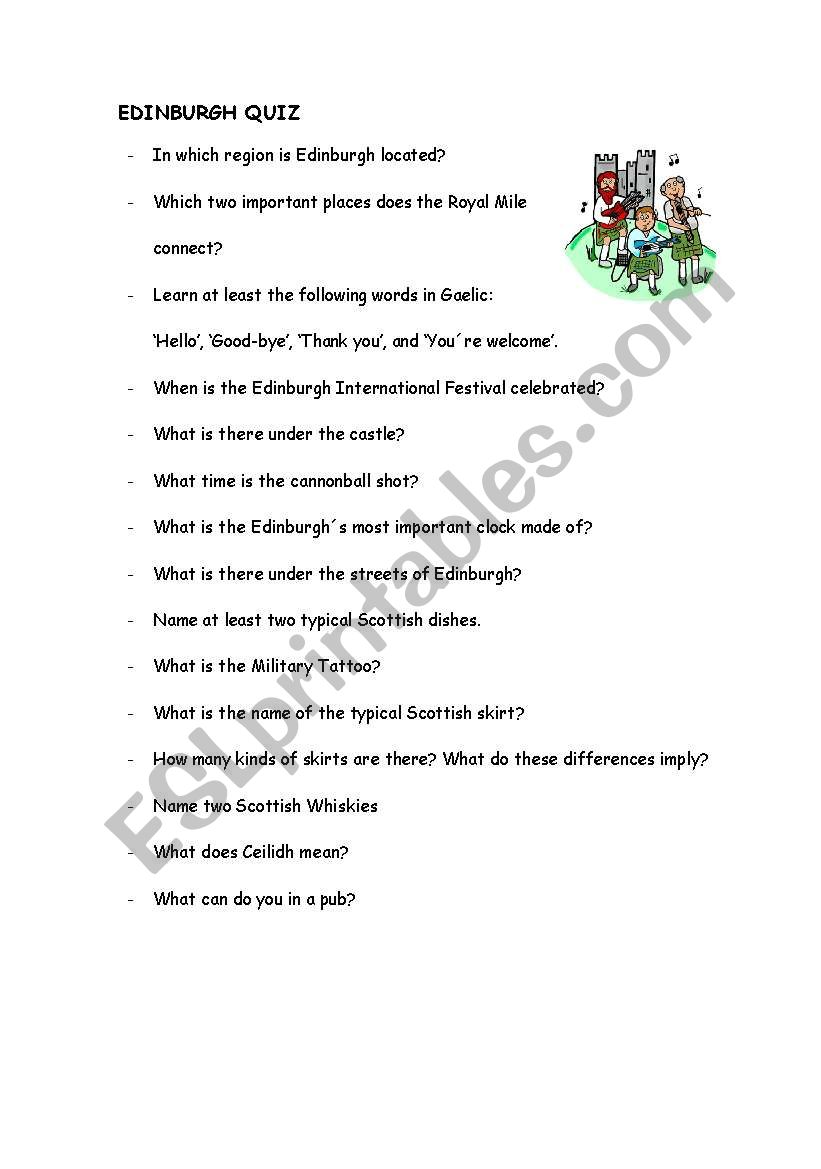 Quiz Edinburgh worksheet