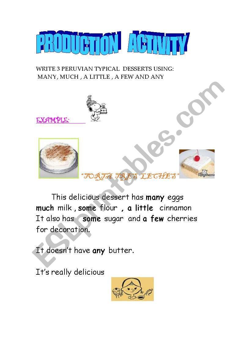 DELICIOUS DESSERTS worksheet