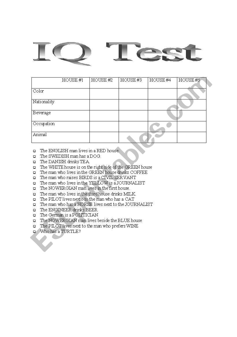 Bewitching image for printable iq test with answers pdf